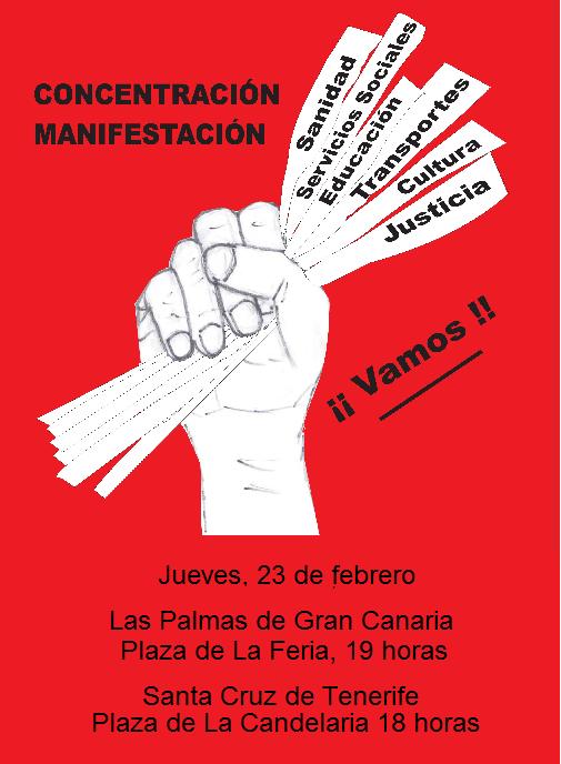 Cartel de la manifestación del 23F contra los recortes